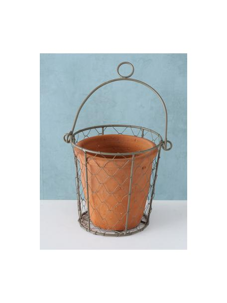 Portavaso Turino, Terracotta, metallo, Ø 12 x Alt. 12 cm