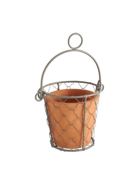 XS Übertopf Turino, Übertopf: Keramik, Halter: Metall, Terrakotta, Metall, Ø 12 x H 12 cm