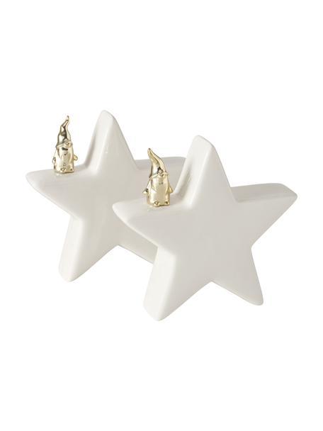 Deko-Sterne Cornie in Weiß H 15 cm, 2 Stück, Steingut, Weiß, Goldfarben, 15 x 15 cm