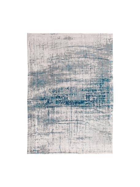Tappeto di design vintage Griff, Retro: misto cotone rivestito in, Blu, grigio, Larg. 80 x Lung. 150 cm (taglia XS)
