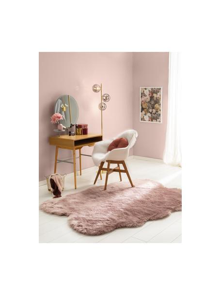 Pluizige imitatie schapenvacht Elmo in roze, glad, Bovenzijde: 50% acryl, 50% polyester, Onderzijde: polyester, Roze, B 140 x L 200 cm (maat S)
