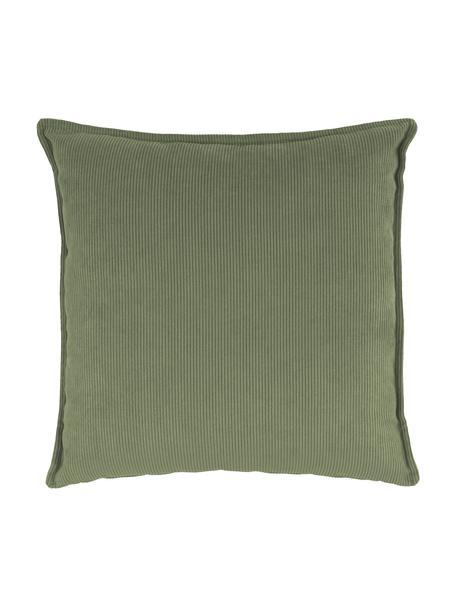 Poduszka ze sztruksu Lennon, Tapicerka: sztruks (92% poliester, 8, Zielony, S 60 x D 60 cm