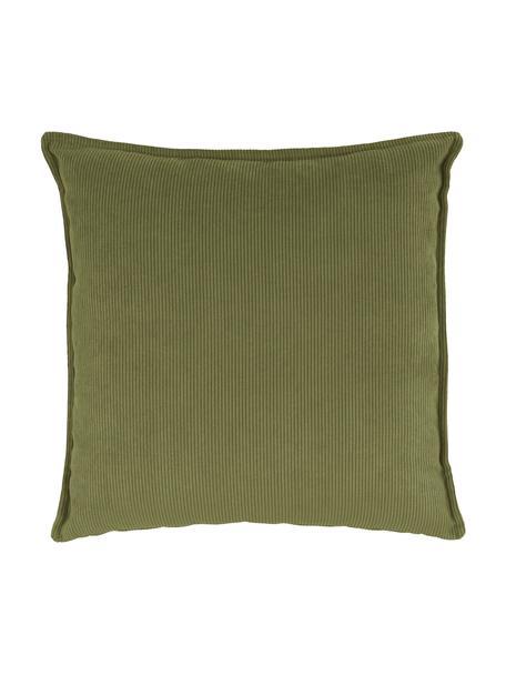 Sofa-Kissen Lennon in Grün aus Cord, Bezug: Cord (92% Polyester, 8% P, Cord Grün, 60 x 60 cm