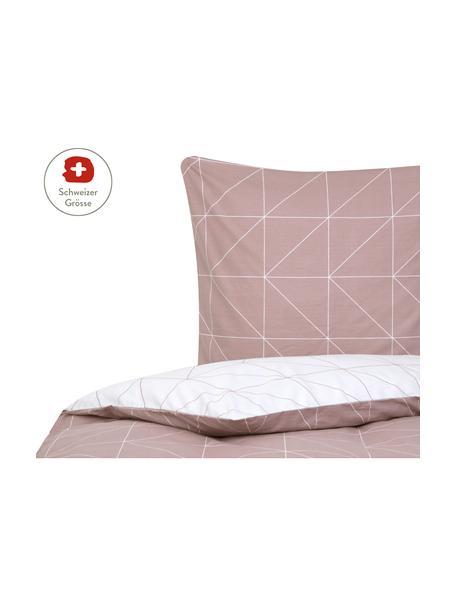 Baumwoll-Wendebettdeckenbezug Marla mit grafischem Muster, Webart: Renforcé Fadendichte 144 , Mauve, Weiss, 160 x 210 cm