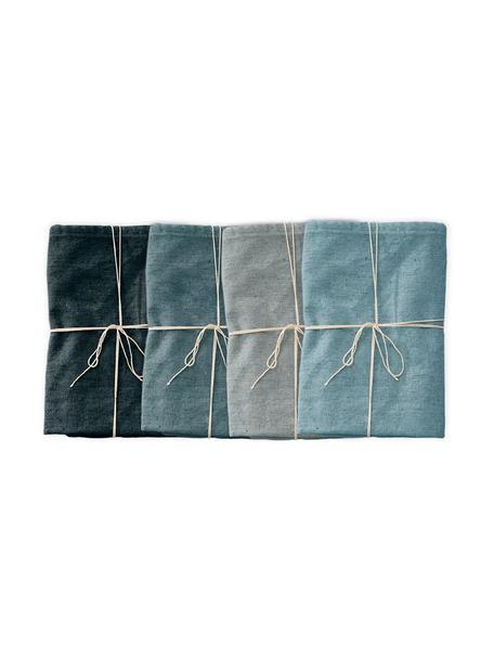 Set de servilletas Babada, 4pzas., Lino, poliéster, Tonos azul, An 40 x L 20 cm
