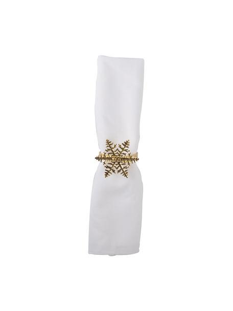 Schneeflocken-Serviettenringe Snowflake in Gold, 4 Stück, Metall, Goldfarben, Ø 5 x H 4 cm