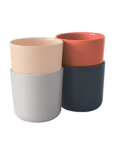 Set tazze senza manico in bambù Bambino 4 pz, Fibra di bambù, melamina, adatto per alimenti Senza BPA, PVC e senza ftalati, Salmone, grigio chiaro, grigio, rosso terracotta, 250 ml