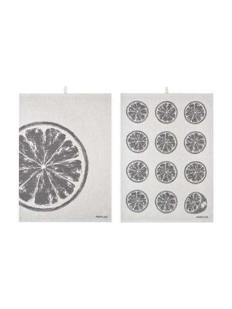 Katoenen theedoeken Citroen, 2-delig, 100% katoen, Grijstinten, 50 x 70 cm