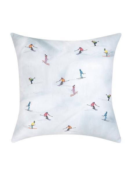 Design kussenhoes Ski van Kera Till, 100% katoen, Lichtblauw, multicolour, 40 x 40 cm