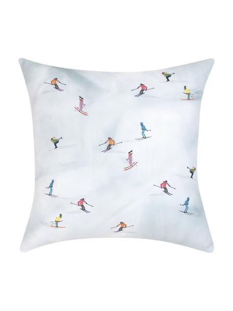 Designer Kissenhülle Ski von Kera Till, 100% Baumwolle, Hellblau, Mehrfarbig, 40 x 40 cm