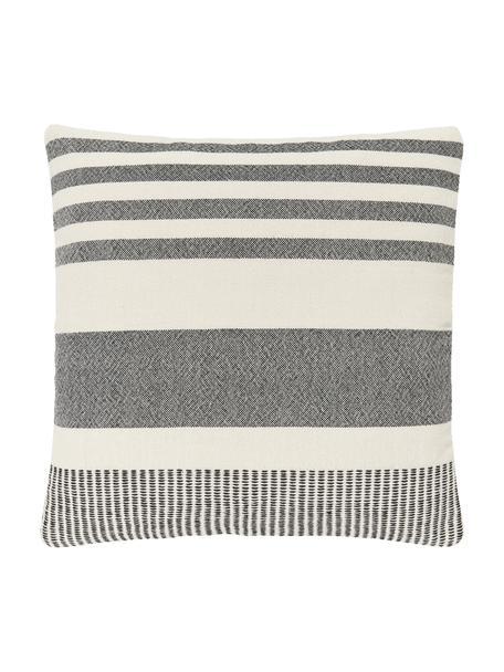 Gestreepte kussenhoes Lines van gerecycled polyester, 100% gerecycled polyester, Zwart, wit, 45 x 45 cm