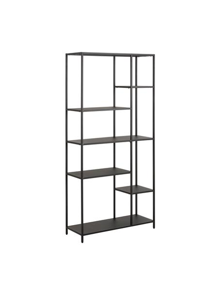 Libreria in metallo nera Newton, Metallo verniciato a polvere, Nero, Larg. 80 x Alt. 164 cm