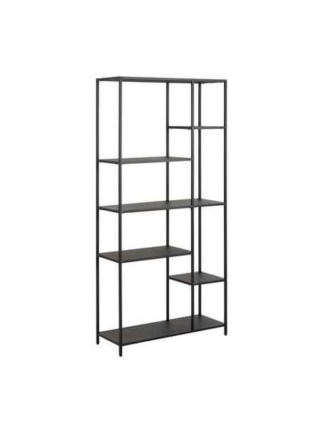 Libreria in metallo nero Neptun, Metallo verniciato a polvere, Nero, Larg. 80 x Alt. 164 cm