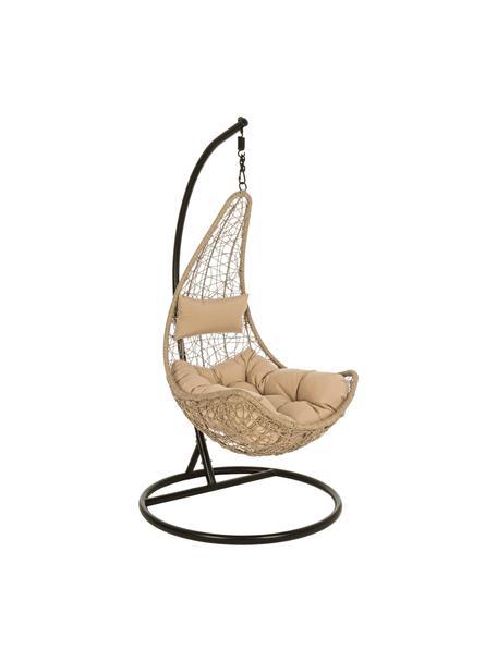 Fotel wiszący z metalową ramą Amirantes, Stelaż: aluminium malowane proszk, Beżowy, S 74 x W 127 cm