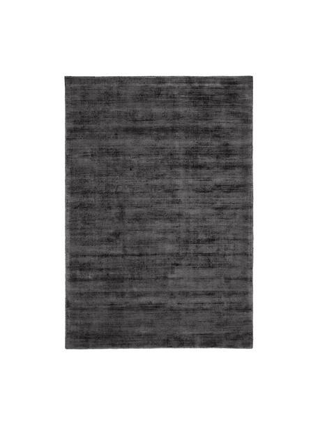 Alfombra artesanal de viscosa Jane, Parte superior: 100%viscosa, Reverso: 100%algodón, Negro antracita, An 90 x L 150 cm (Tamaño XS)