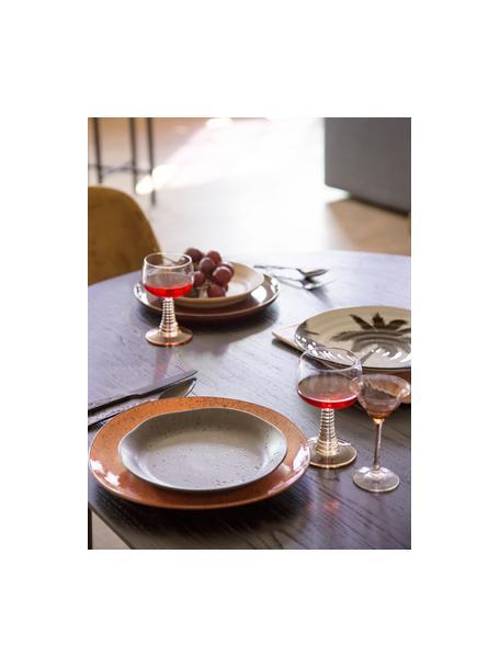 Weingläser Swirl mit geschwungenem Griff, 8 Stück, Glas, Transparent, Beige, Ø 9 x H 14 cm