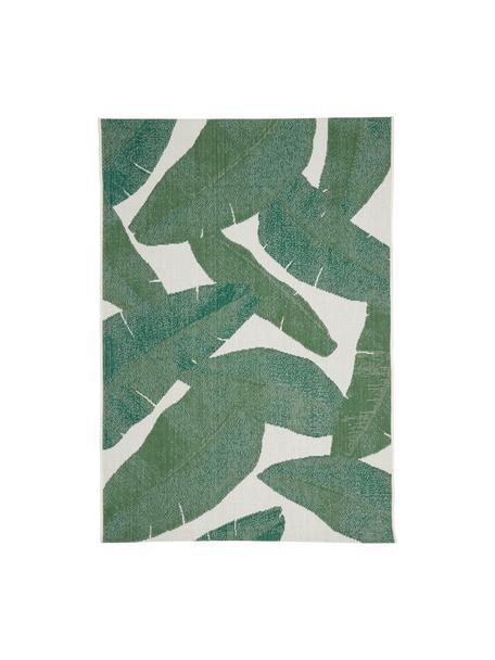 Tappeto da interno-esterno con motivo foglie Jungle, 86% polipropilene, 14% poliestere, Bianco crema, verde, Larg. 160 x Lung. 230 cm  (taglia M)