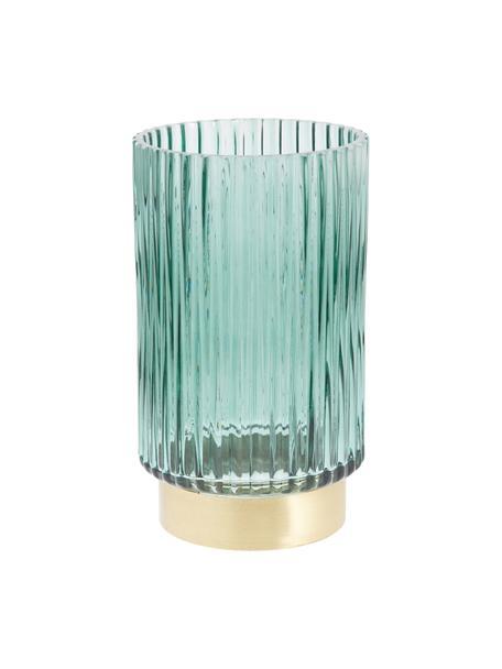 Jarrón de vidrio con base de metal Lene, Jarrón: vidrio, Verde transparente, dorado, Ø 12 x Al 20 cm