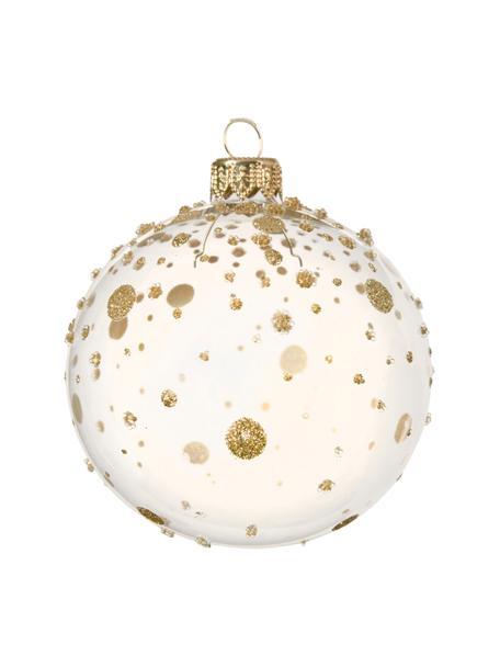 Weihnachtskugeln Golden Spots Ø 8 cm, 2 Stück, Beige, Goldfarben, Ø 8 cm