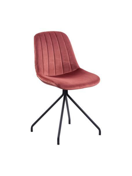 Fluwelen stoel Eva in rood, Bekleding: polyester fluweel, Poten: gelakt metaal, Koraalrood, 54 x 47 cm