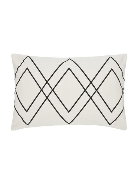 Federa arredo boho color bianco crema/nero Ausel, 100% cotone, Bianco, nero, Larg. 30 x Lung. 50 cm