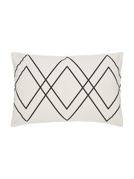 Funda de cojín Ausel, estilo boho, 100%algodón, Blanco, negro, An 30 x L 50 cm