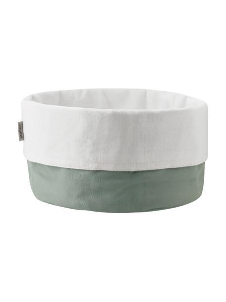 Cesta per pane in lino Oleg, 100% cotone lino, Verde, bianco, Ø 23 x Alt. 21 cm