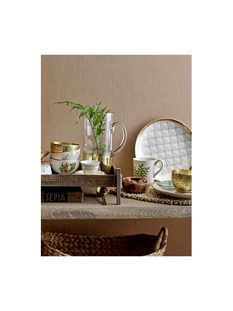 Dinerborden Aruba met goudkleurige details, 2 stuks, Keramiek, Beige, goudkleurig, Ø 25 cm
