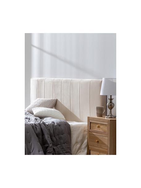 Testiera imbottita in velluto beige Adrio, Rivestimento: 100% velluto di poliester, Struttura: legno, metallo, Velluto beige, Larg. 160 x Alt. 64 cm