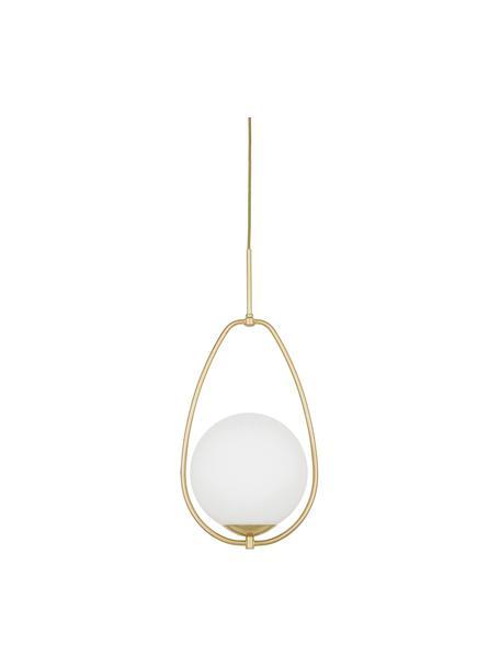 Lámpara de techo pequeña de vidrio opalino Avalon, Pantalla: vidrio, Estructura: metal pintado, Anclaje: metal pintado, Cable: plástico, Blanco, dorado, Ø 23 x Al 51 cm