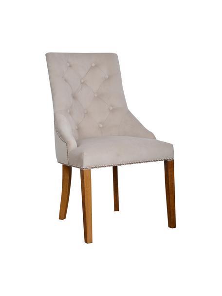 Sedia imbottita in velluto beige Madam, Rivestimento: velluto (100% poliestere), Velluto beige, gambe marrone chiaro, Larg. 56 x Prof. 64 cm