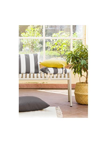 Gestreifte Outdoor-Kissenhülle Santorin in Grau/Weiss, 100% Polypropylen, Teflon® beschichtet, Anthrazit, gebrochenes Weiss, 40 x 40 cm