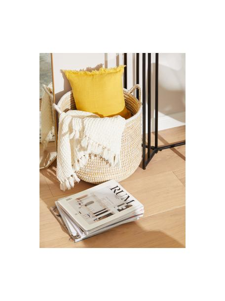 Funda de cojín de lino con flecos Luana, 100%lino, Amarillo, An 30 x L 50 cm