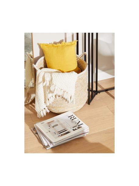 Poszewka na poduszkę z lnu z frędzlami Luana, 100% len, Żółty, S 30 x D 50 cm
