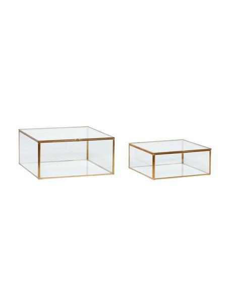 Aufbewahrungsboxen-Set Karie, 2-tlg., Rahmen: Messing, Box: Glas, Messing, Transparent, Sondergrößen