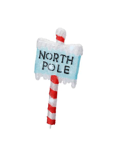 LED Leuchtobjekt North Pole H 93 cm, mit Stecker, Kunststoff, Rot, Blau, Weiss, 35 x 93 cm