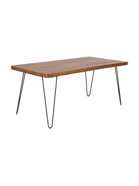 Tavolo con piano in legno massello Edgar, 175x90 cm, Piano d'appoggio: legno di acacia, Gambe: metallo, Legno di acacia, nero, Larg. 175 x Prof. 90 cm