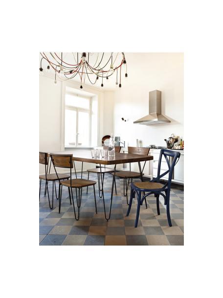 Mesa de comedor Edgar, tablero de madera maciza, Tablero: madera de acacia, Patas: metal, Madera de acacia, negro, An 175 x F 90 cm