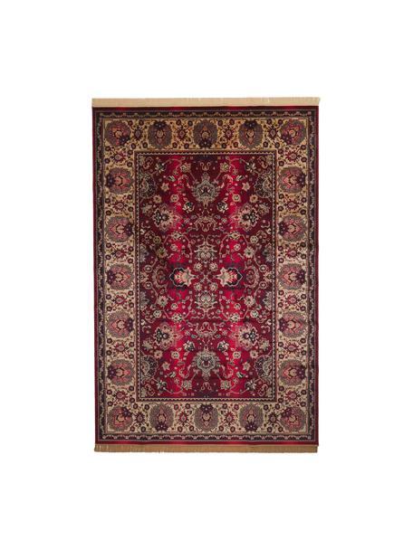 Teppich Bid mit Blumenmuster im Orient Style, Flor: 38% Viskose, 26% Baumwoll, Teppich: Rot- und BeigetöneFransen: Beige, B 200 x L 300 cm (Größe L)