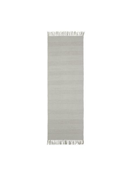 Katoenen loper Tanya met ton-sur-ton weefpatroon en franjes, 100% katoen, Greige, 70 x 200 cm