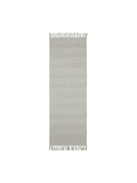Passatoia in cotone a righe  tono su tono con frange Tanya, 100% cotone, Greige, Larg. 70 x Lung. 200 cm