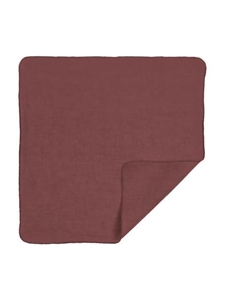 Tovagliolo in eco-lino rosso scuro Gracie, 100% lino, Rosso scuro, Larg. 45 x Lung. 45 cm