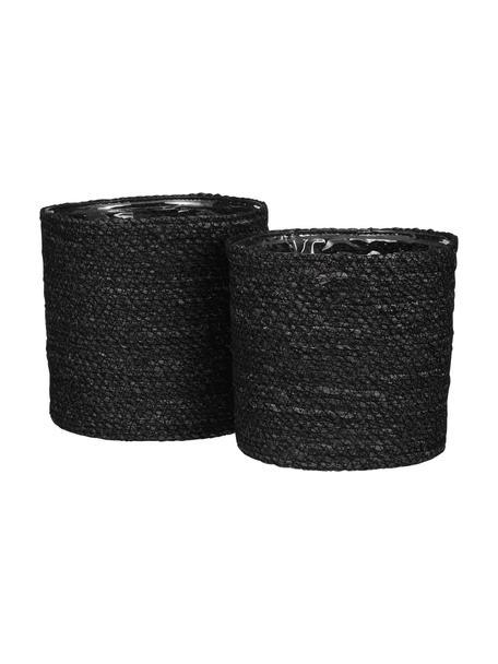 Set de maceteros Atlantic, 2uds., con bolsa de plástico, Fibra natural, Negro, Set de diferentes tamaños