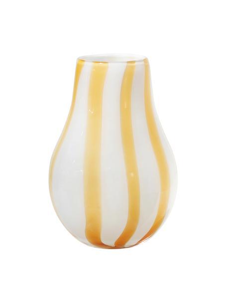 Wazon ze szkła dmuchanego Adela, Szkło dmuchane, Biały, żółty, Ø 16 x W 23 cm