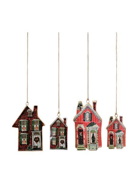 Aornos navideños Houses, 4uds., Adornos: metal, Marrón, rojo, Set de diferentes tamaños