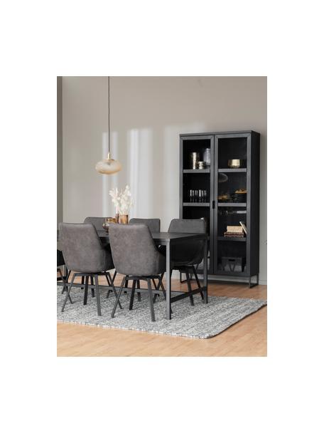 Witryna z drewnianą ramą Everett, Korpus: lite drewno dębowe, lakie, Stelaż: metal lakierowany, Czarny, S 95 x W 195 cm