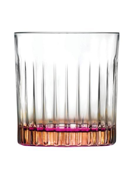 Glazen kristallen tumblers Gipsy met tweekleurig Luxion, 6 stuks, Luxion-kristalglas, Transparant, koperkleurig, roze, Ø 8 x H 9 cm