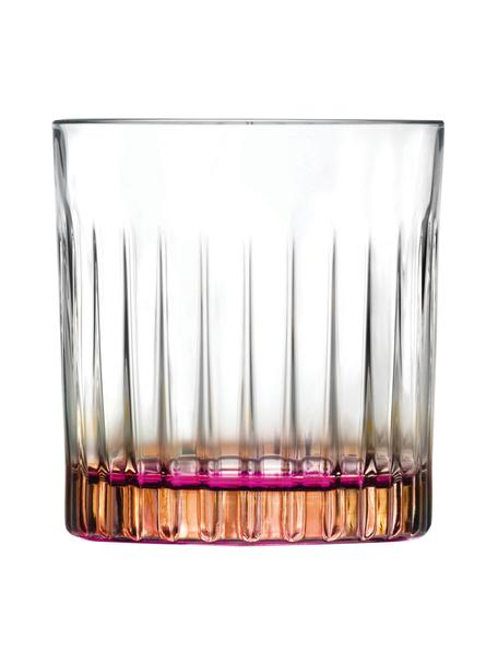 Szklanka ze szkła kryształowego Gipsy, 6 szt., Szkło kryształowe Luxion, Transparentny, odcienie miedzi, różowy, Ø 8 x W 9 cm