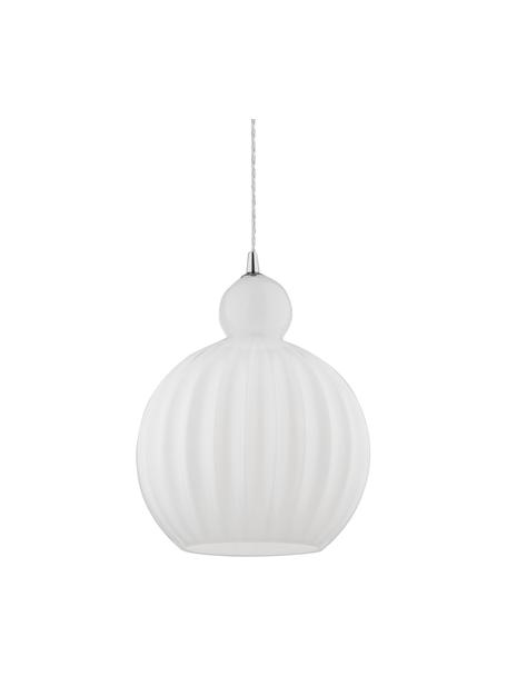 Kleine hanglamp Odell van opaalglas, Lampenkap: opaalglas, Baldakijn: metaal, Opaalwit, Ø 28 x H 36 cm