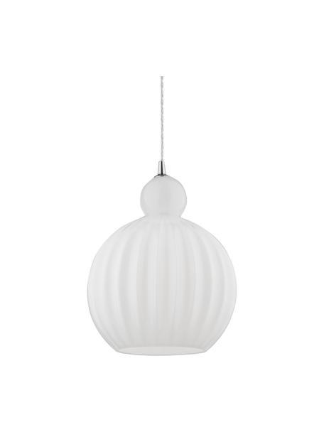 Lámpara de techo pequeña de vidrio opalino Odell, Pantalla: vidrio, Anclaje: metal, Cable: plástico, Blanco opalino, Ø 28 x Al 36 cm
